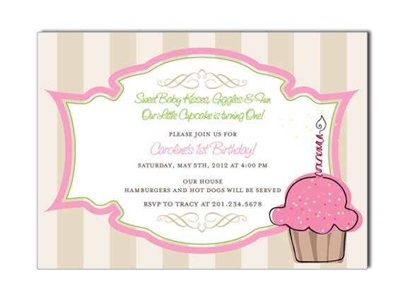 Cupcake Custom Birthday Invitation